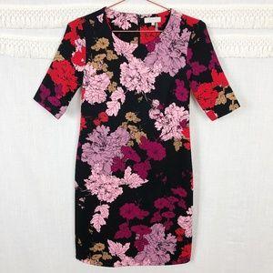 1.State | Black Floral A-Line Short Sleeve Dress S